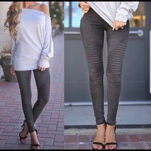 Pants - Suade gray moto leggings/jeggings
